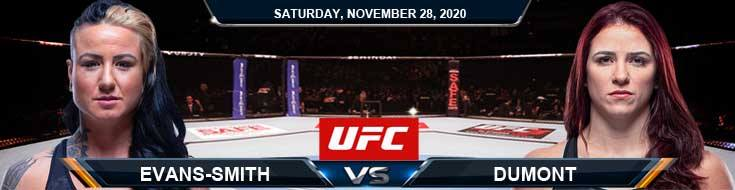 UFC on ESPN 18 Evans-Smith vs Dumont 11-28-2020 Fight Analysis Forecast and Tips