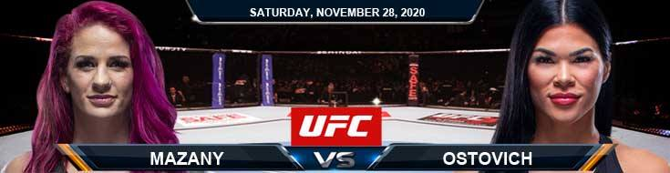 UFC on ESPN 18 Mazany vs Ostovich 11-28-2020 Tips Results and Analysis