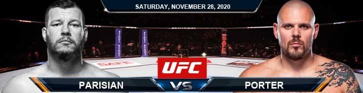 UFC on ESPN 18 Parisian vs Porter 11-28-2020 Odds Picks and Predictions