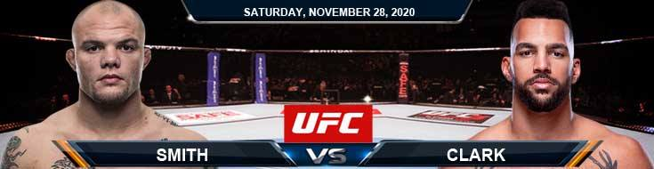 UFC on ESPN 18 Smith vs Clark 11-28-2020 Predictions Betting Previews and Spread