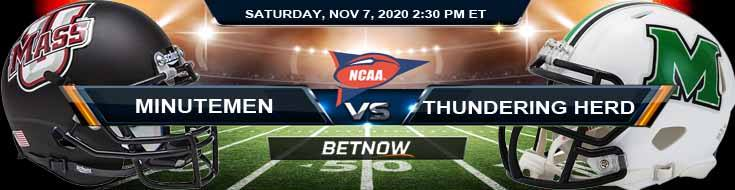 UMass Minutemen vs Marshall Thundering Herd 11-07-2020 Odds NCAAF Betting and Results