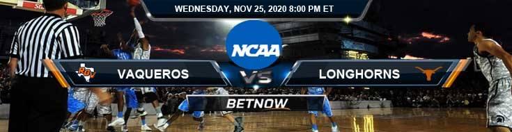 UT Rio Grande Valley Vaqueros vs Texas Longhorns 11-25-2020 Game Analysis Basketball Betting and Odds