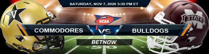 Vanderbilt Commodores vs Mississippi State Bulldogs 11-07-2020 Spread NCAAF Previews and Predictions