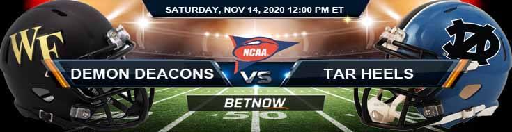 Wake Forest Demon Deacons vs North Carolina Tar Heels 11-14-2020 NCAAF Predictions Odds & Previews