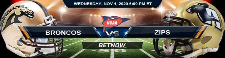 Western Michigan Broncos vs Akron Zips 11-04-2020 NCAAF Picks Predictions & Previews
