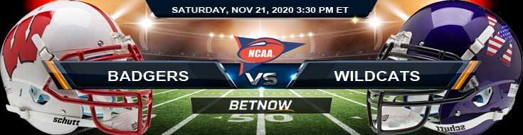 Wisconsin Badgers vs Northwestern Wildcats 11-21-2020 NCAAF Predictions Odds & Previews