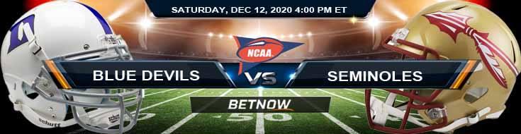 Duke Blue Devils vs Florida State Seminoles 12-12-2020 NCAAF Forecast Odds & Spread