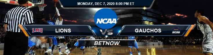 Loyola Marymount Lions vs UC-Santa Barbara Gauchos 12-7-2020 NCAAB Predictions Picks & Previews