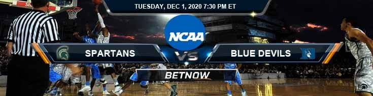 Michigan State Spartans vs Duke Blue Devils 12-1-2020 NCAAB Odds Previews & Tips