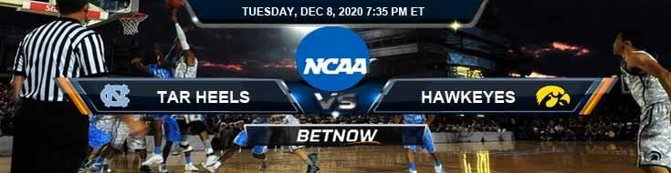 North Carolina Tar Heels vs Iowa Hawkeyes 12-8-2020 NCAAB Predictions Previews & Spread