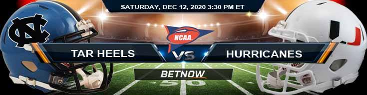 North Carolina Tar Heels vs Miami-FL Hurricanes 12-12-2020 NCAAF Results Odds & Predictions