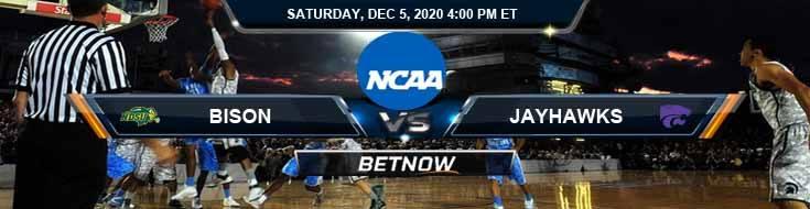 North Dakota State Bison vs Kansas Jayhawks 12-5-2020 NCAAB Spread Picks & Previews