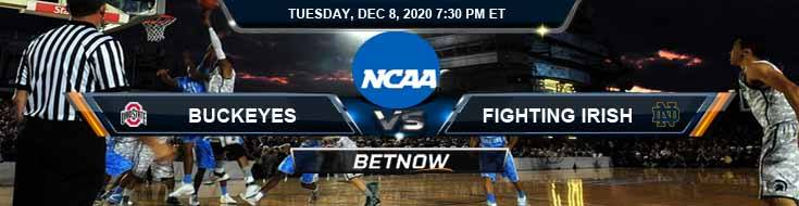 Ohio State Buckeyes vs Notre Dame Fighting Irish 12-8-2020 NCAAB Results Odds & Predictions