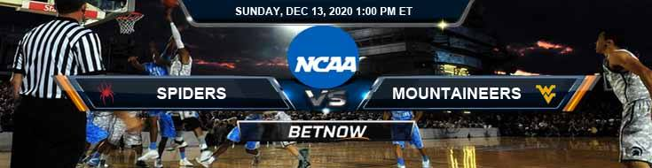Richmond Spiders vs West Virginia Mountaineers 12-13-2020 NCAAB Odds Previews & Tips