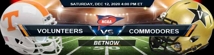 Tennessee Volunteers vs Vanderbilt Commodores 12-12-2020 Picks NCAAF Predictions & Previews