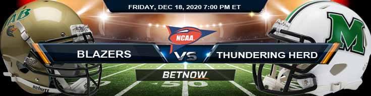 UAB Blazers vs Marshall Thundering Herd 12-18-2020 Previews Spread & NCAAF Odds