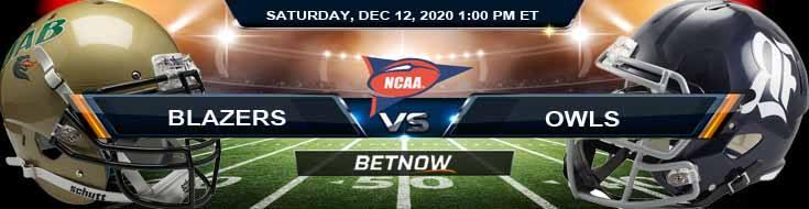 UAB Blazers vs Rice Owls 12-12-2020 Previews Spread & NCAAF Odds