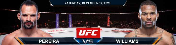 UFC Fight Night 183 Pereira vs Williams 12-19-2020 Previews Spread and Fight Analysis