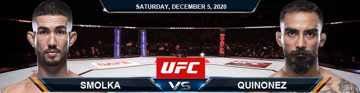 UFC on ESPN 19 Smolka vs Quinonez 12-05-2020 Odds Picks and Predictions