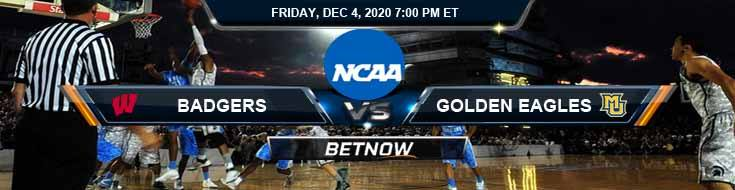 Wisconsin Badgers vs Marquette Golden Eagles 12-4-2020 NCAAB Previews Spread & Game Analysis
