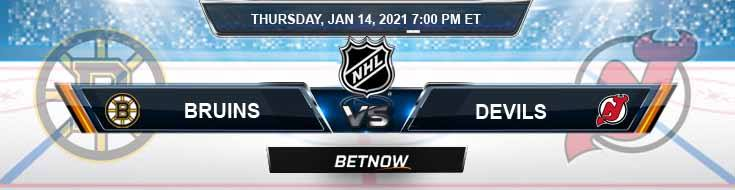Boston Bruins vs New Jersey Devils 01-14-2021 Results Hockey Betting and Odds