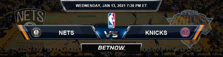 Brooklyn Nets vs New York Knicks 1-13-2021 NBA Spread and Previews