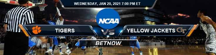 Clemson Tigers vs Georgia Tech Yellow Jackets 01-20-2021 Picks Spread & NCAAB Previews