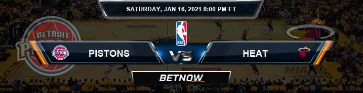 Detroit Pistons vs Miami Heat 1-16-2021 Spread Picks and Prediction