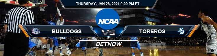 Gonzaga Bulldogs vs San Diego Toreros 01-28-2021 Basketball Betting Odds & Previews