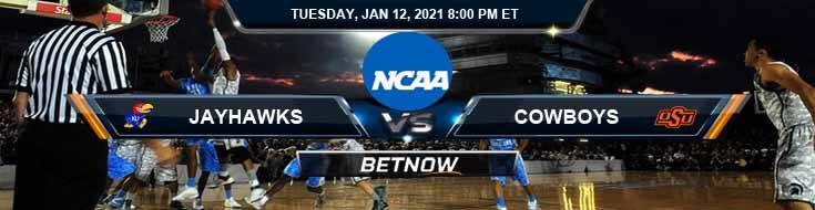 Kansas Jayhawks vs Oklahoma State Cowboys 01-12-2021 NCAAB Predictions Odds & Previews