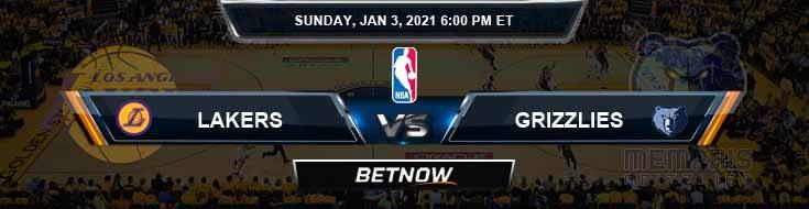 Los Angeles Lakers vs Memphis Grizzlies 1-3-2021 NBA Picks and Previews