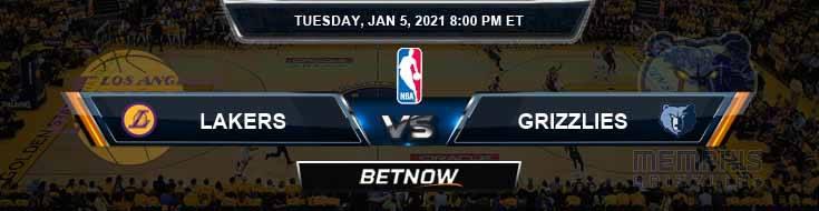 Los Angeles Lakers vs Memphis Grizzlies 1-5-2021 NBA Picks and Previews
