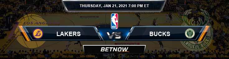 Los Angeles Lakers vs Milwaukee Bucks 1-21-2021 NBA Spread and Picks