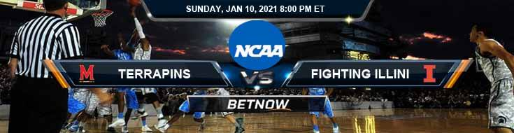 Maryland Terrapins vs Illinois Fighting Illini 01-10-2021 Basketball Betting Odds & Previews