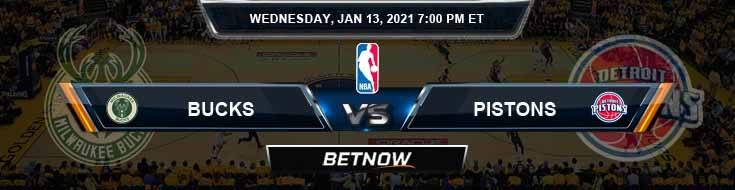 Milwaukee Bucks vs Detroit Pistons 1-13-2021 Odds Picks and Previews
