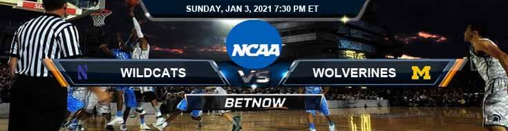 Northwestern Wildcats vs Michigan Wolverines 01-03-2021 Predictions NCAAB Previews & Picks