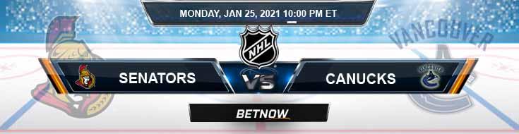 Ottawa Senators vs Vancouver Canucks 01-25-2021 Results Hockey Betting and Odds
