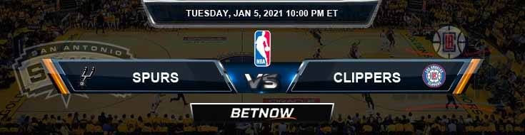 San Antonio Spurs vs Los Angeles Clippers 1-5-2021 NBA Odds and Previews