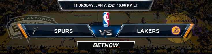 San Antonio Spurs vs Los Angeles Lakers 1-7-2021 NBA Odds and Picks