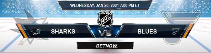 San Jose Sharks vs St. Louis Blues 01-20-2021 Picks Betting Predictions and Previews
