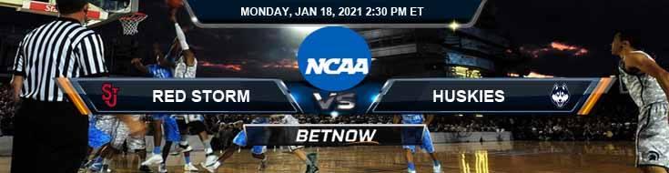 St. John's Red Storm vs UConn Huskies 01-18-2021 Basketball Betting Picks & Spread