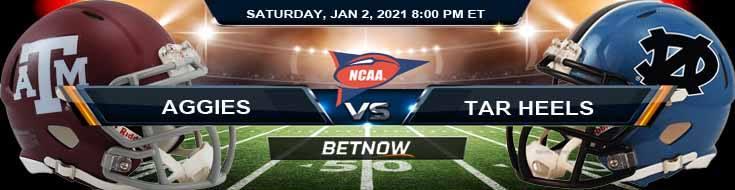 Texas A&M Aggies vs North Carolina Tar Heels 01-02-2021 NCAAF Previews Spread and Game Analysis