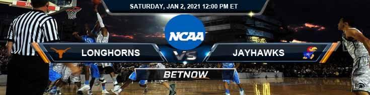 Texas Longhorns vs Kansas Jayhawks 01-02-2021 Odds Basketball Betting & Previews
