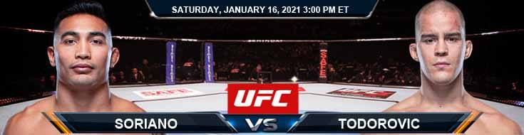 UFC On ABC 1 Soriano vs Todorovic 01-16-2021 Spread Fight Analysis and Forecast