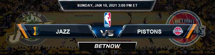 Utah Jazz vs Detroit Pistons 1-10-2021 Picks Previews and Prediction