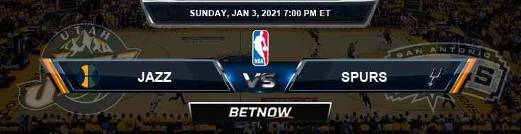 Utah Jazz vs San Antonio Spurs 1-3-2021 Odds Picks and Previews