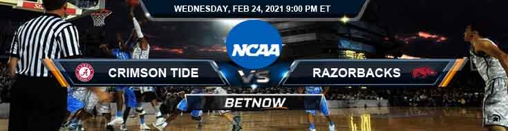 Alabama Crimson Tide vs Arkansas Razorbacks 02/24/2021 Basketball Betting, Odds & Predictions