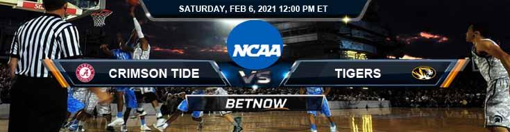 Alabama Crimson Tide vs Missouri Tigers 02-06-2021 Basketball Betting Odds & Previews