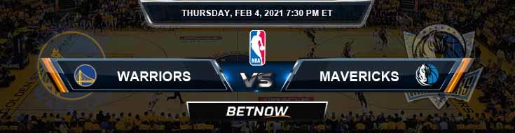 Golden State Warriors vs Dallas Mavericks 2-4-2021 Odds Spread and Picks