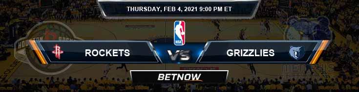 Houston Rockets vs Memphis Grizzlies 2-4-2021 Odds Picks and Previews